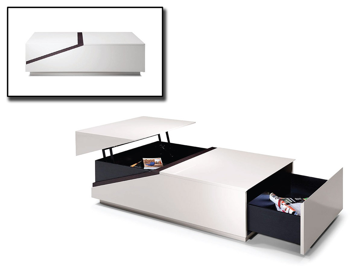Tv Hidden In Coffee Table Modern White And Black Transformer Coffee Table Columbus