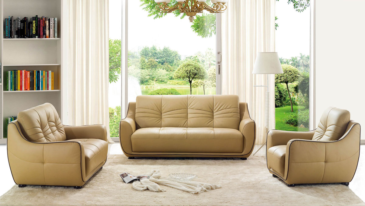 Leather Living Room Furnitures Remarkable Bonded Leather Beige Tufted Sofa Set