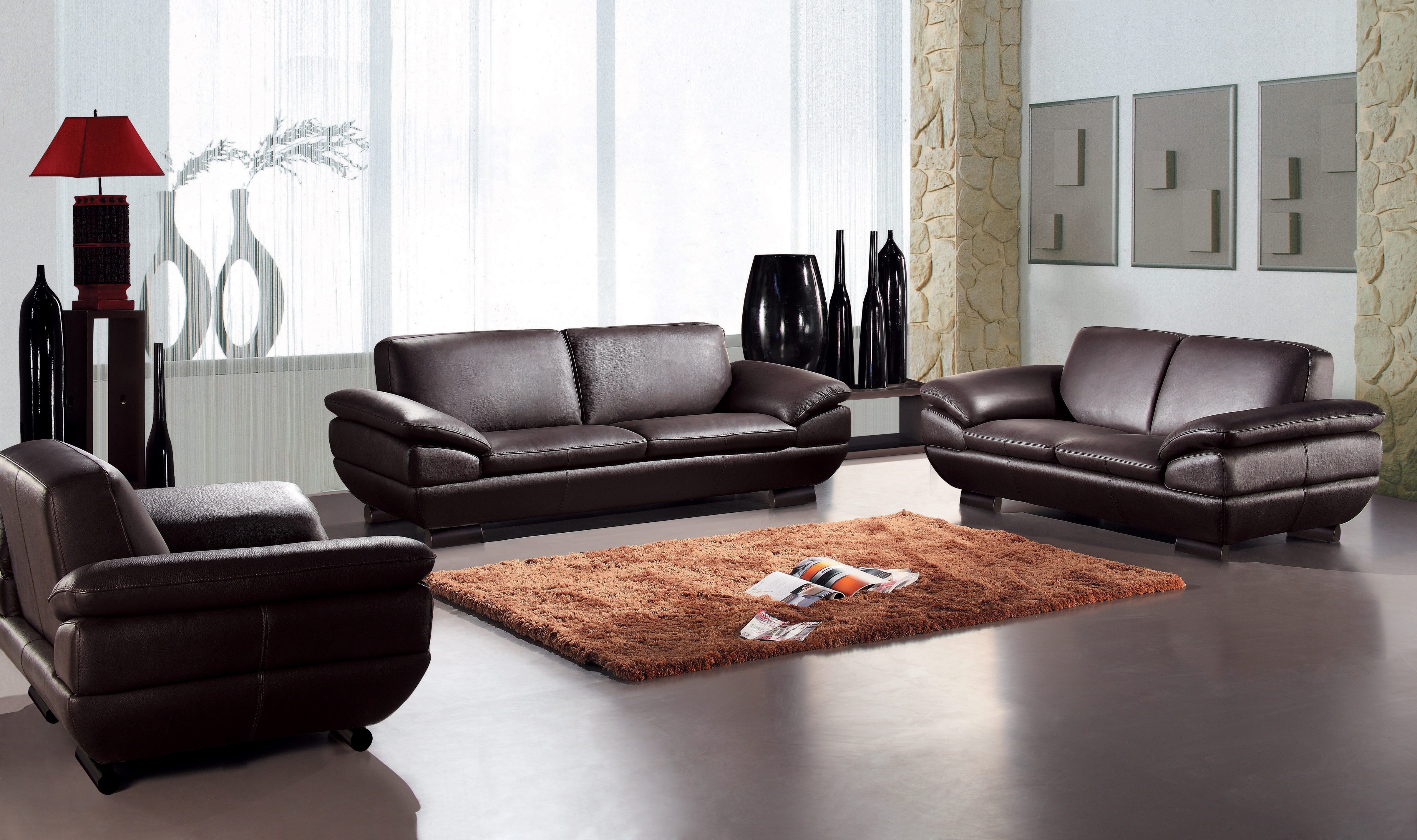 Sofa Set Offer Up Contemporary Three Piece Sofa Set In Dark Brown Leather
