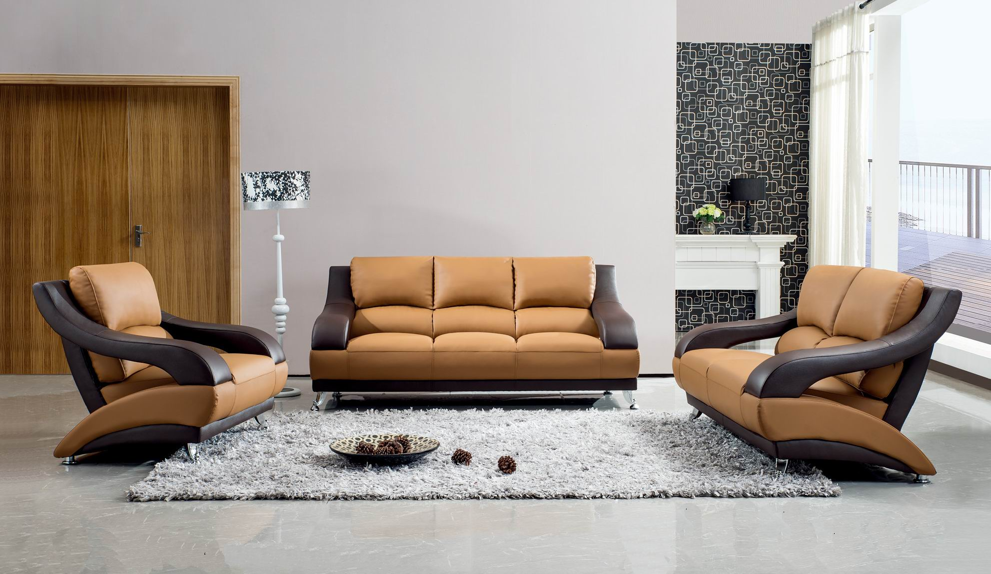 Contemporary Living Set Brown Leather Contemporary Living Room Set With Metal Legs