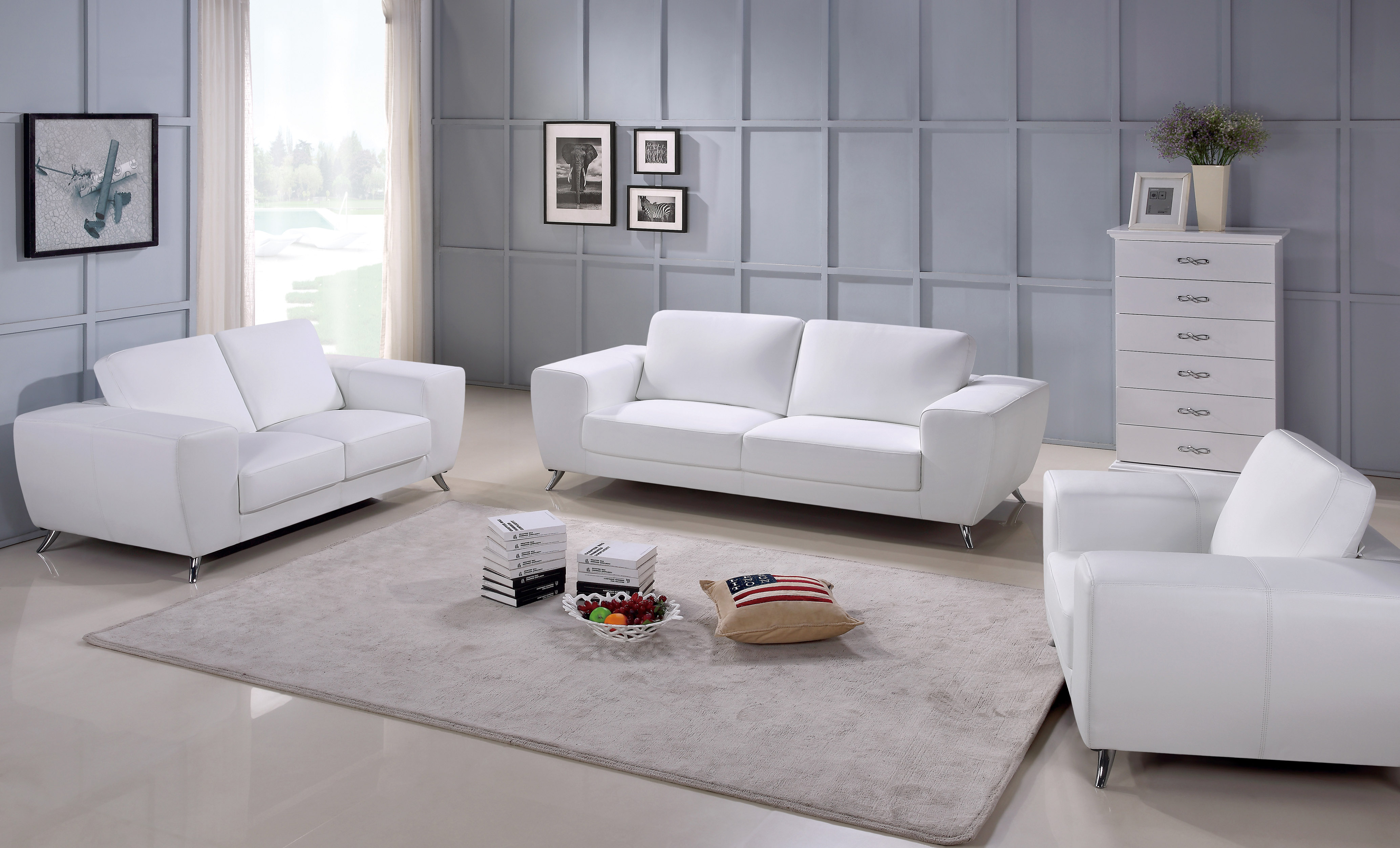 Italian Contemporary Sofas Julie Contemporary Sofa Set With Italian Leather