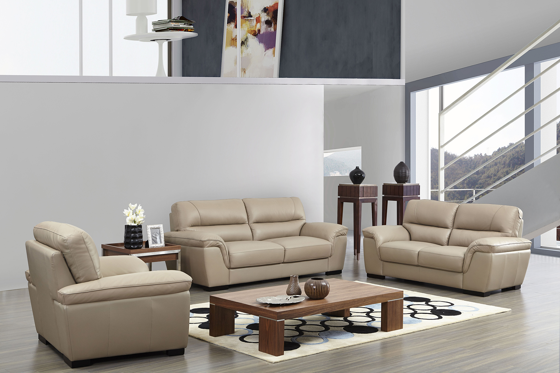 Leather Living Room Furnitures Contemporary Beige Leather Stylish Sofa Set With Wooden Legs