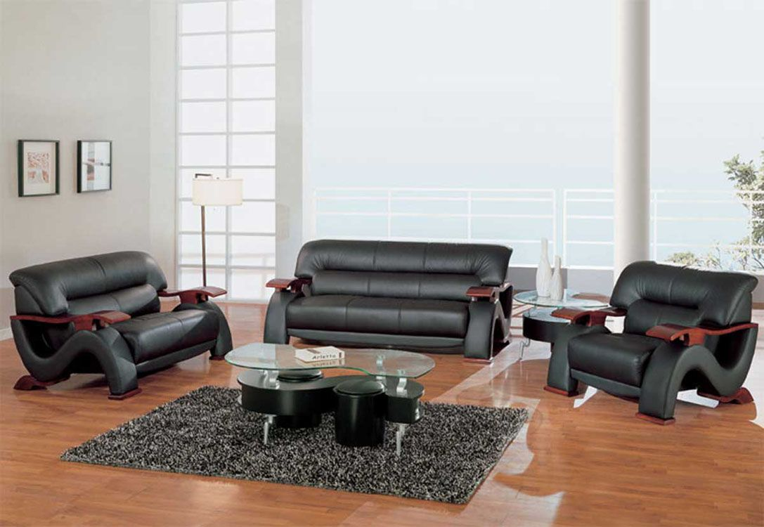 Sofa Sets In Living Room Grandiose Curvy Wood And Leather Sofa Set With 4 Colors Option