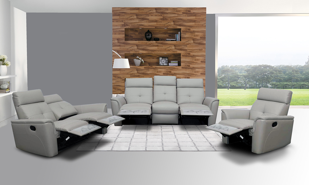 Los Sofas Elegant Leather Living Room Set With Tufted Stitching Elements