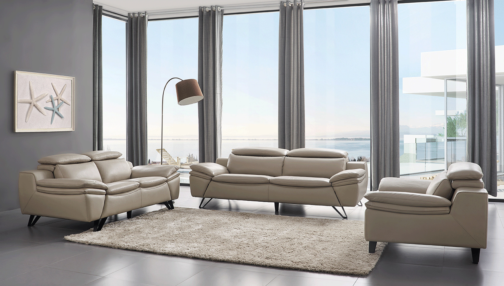 Modern Style Living Room Furniture Grey Leather Contemporary Living Room Set Cleveland Ohio