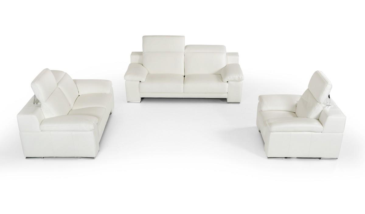 Italian White Leather Sofa | Estro Salotti Evergreen Modern White ...