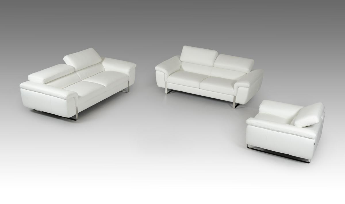 White Leather Couch Italian Made White Leather Sofa Set With Adjustable Headrests