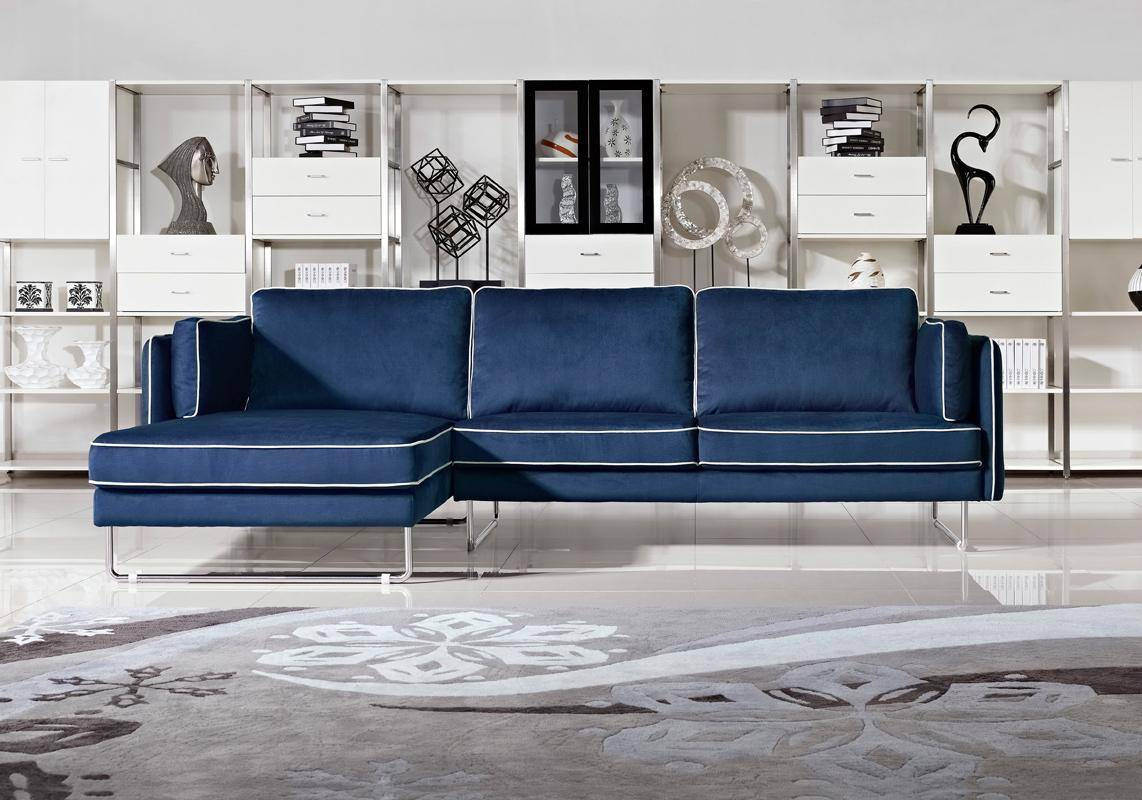 Blue Sectional Contemporary Blue Fabric Sectional Sofa With White Piping