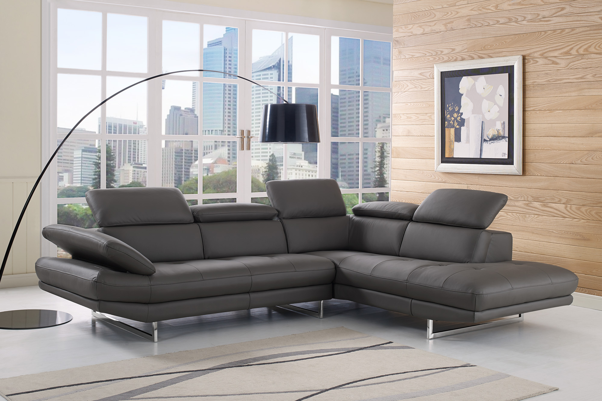 Sectional Corner Couch Adjustable Advanced Italian Leather Corner Couch