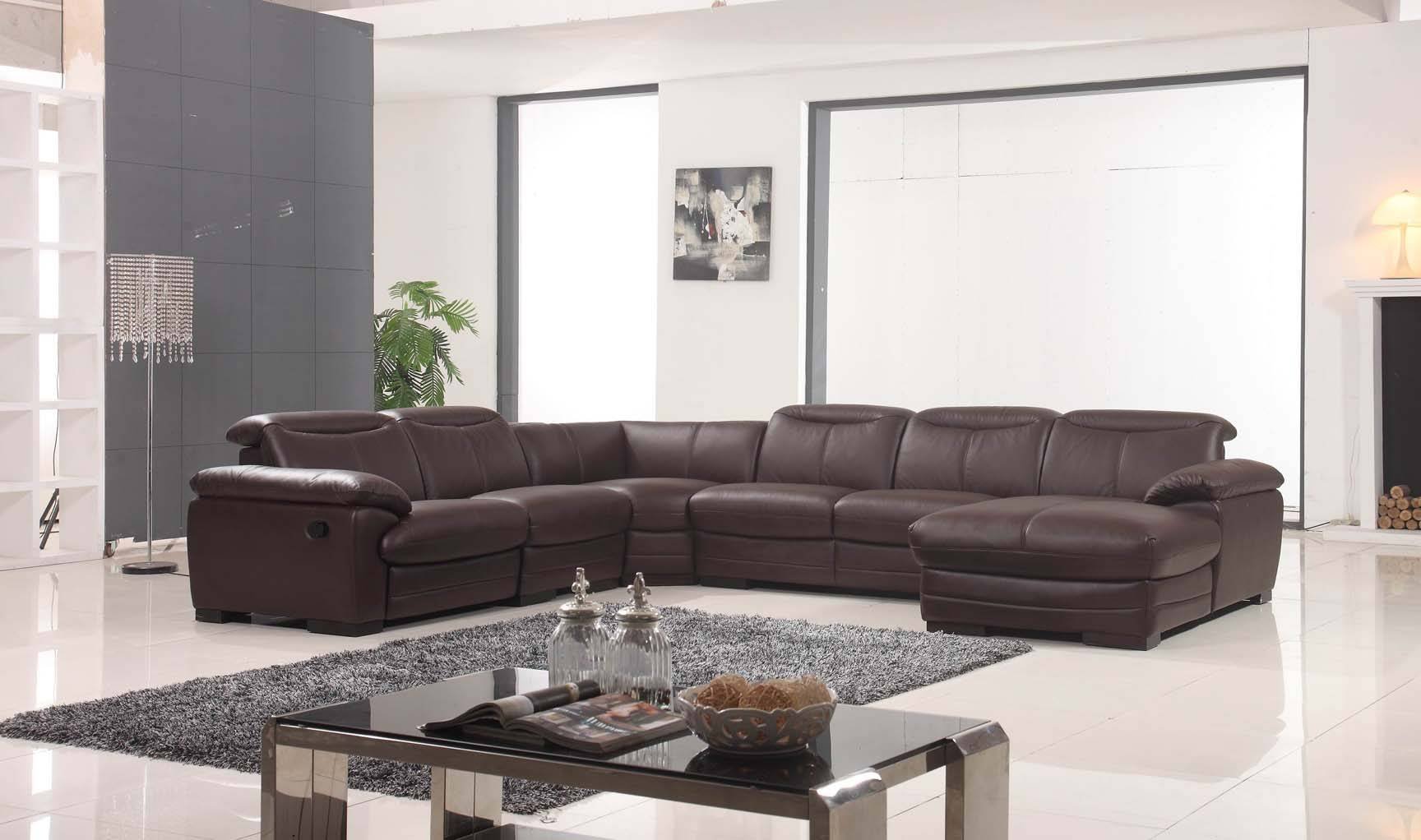 Large Brown Leather Contemporary Sectional Set With Recliner Chair Portland Oregon Esf 2146