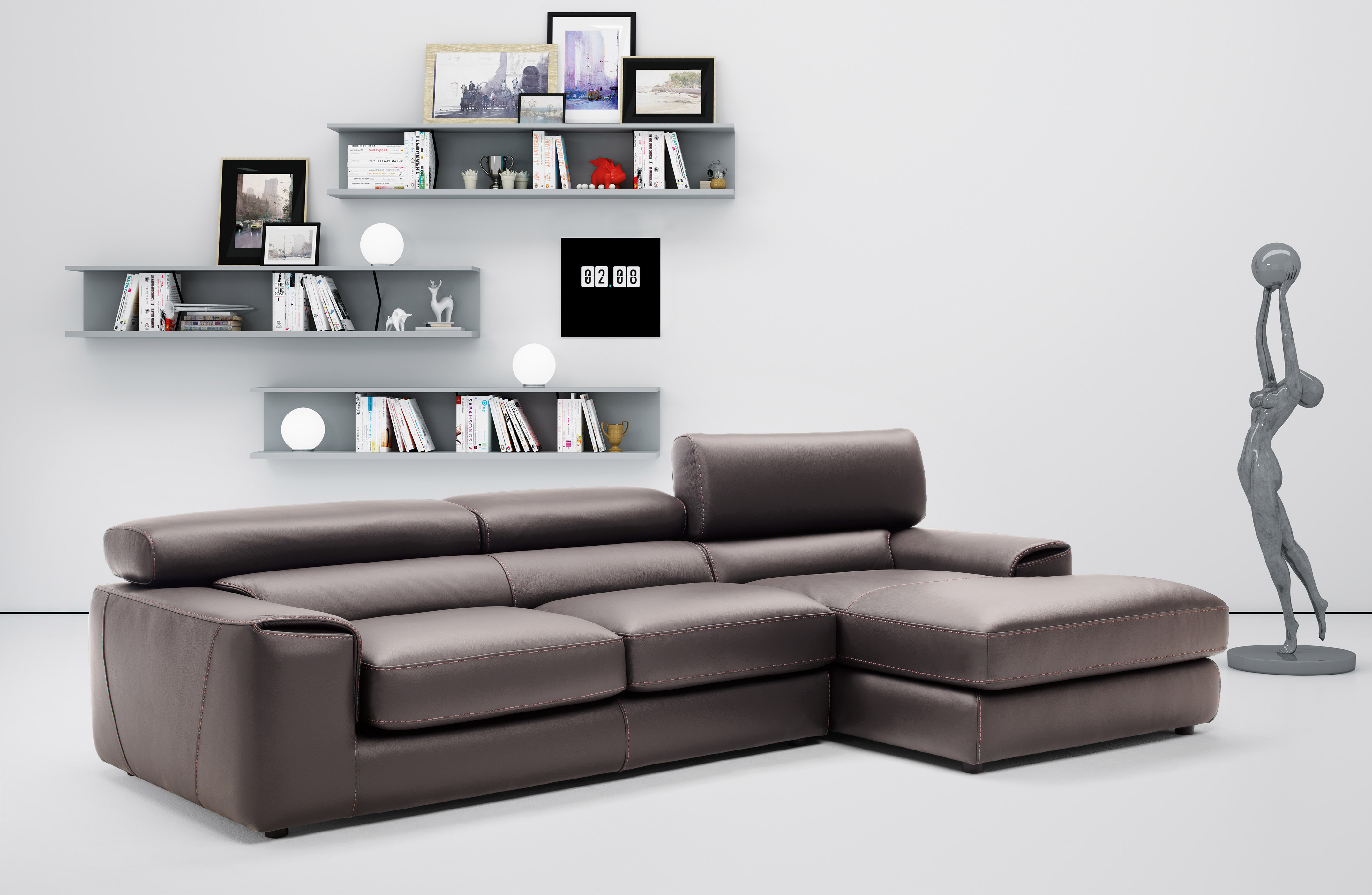Macam Sofa Graceful Full Leather Sectional With Chaise
