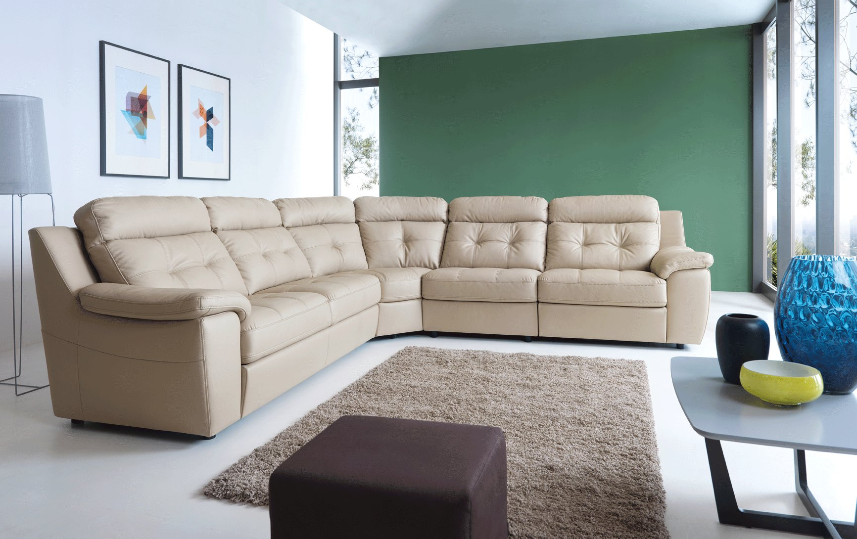 High End Curved Sectional Sofa In Leather Lexington Fayette Kentucky Esf Galla Toledo Sleeper