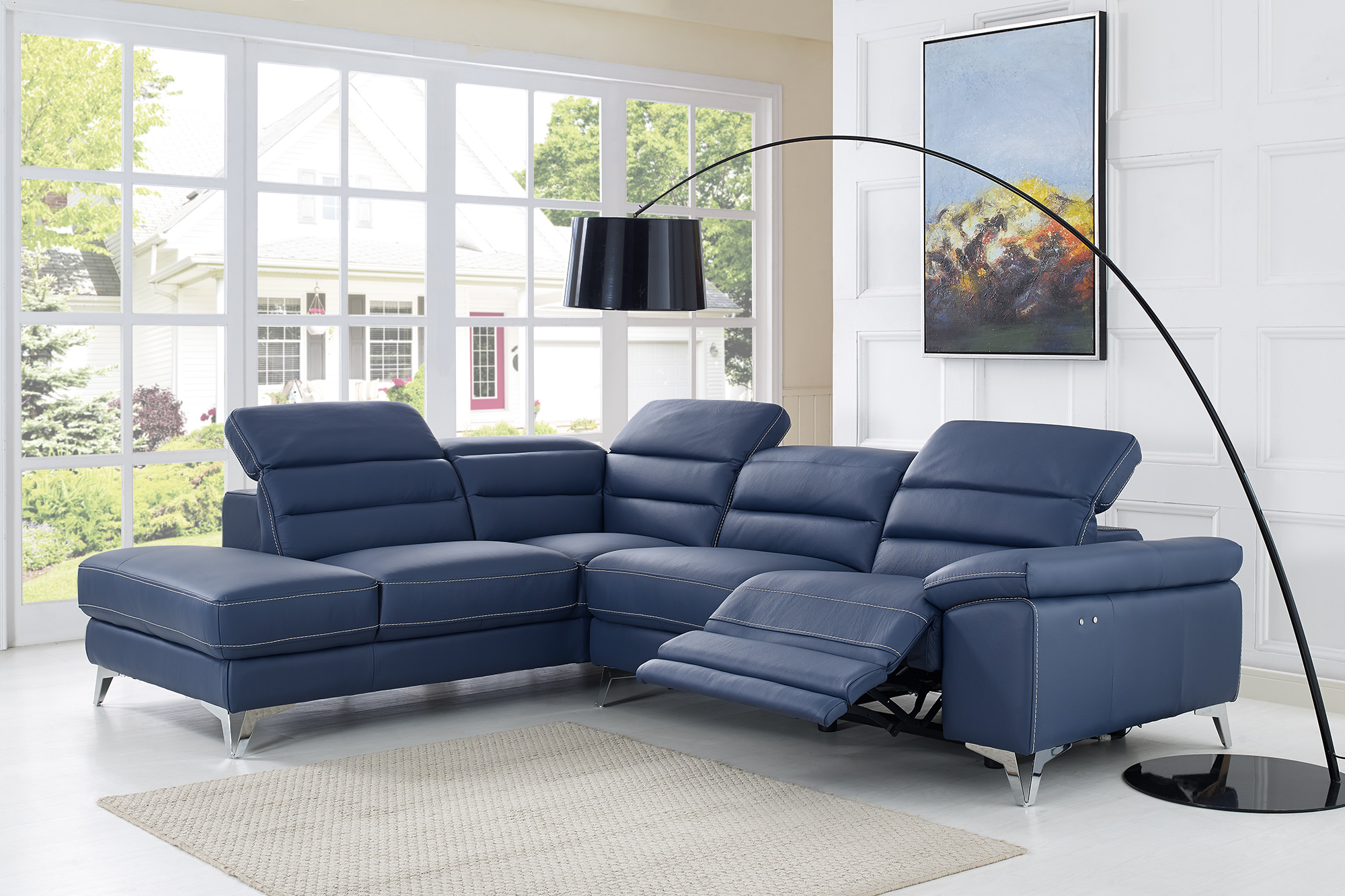 Sleek Leather Couch Two Tone Contemporary Style Sleek Quality Full Leather