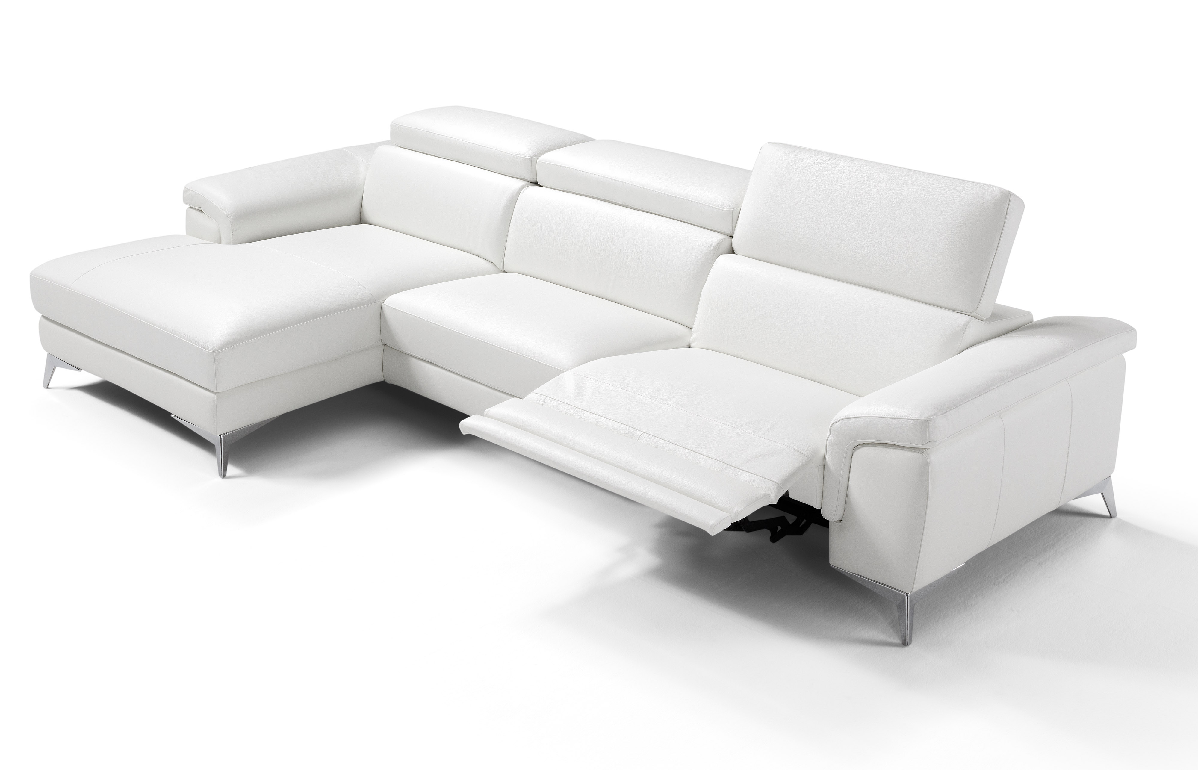White Leather Sofa With Chaise | Awesome White Leather Chaise ...