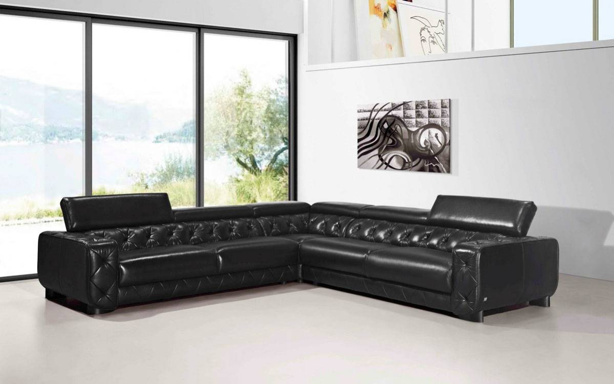 Sectional Corner Couch Large Contemporary Black Tufted Genuine Leather Sectional Sofa