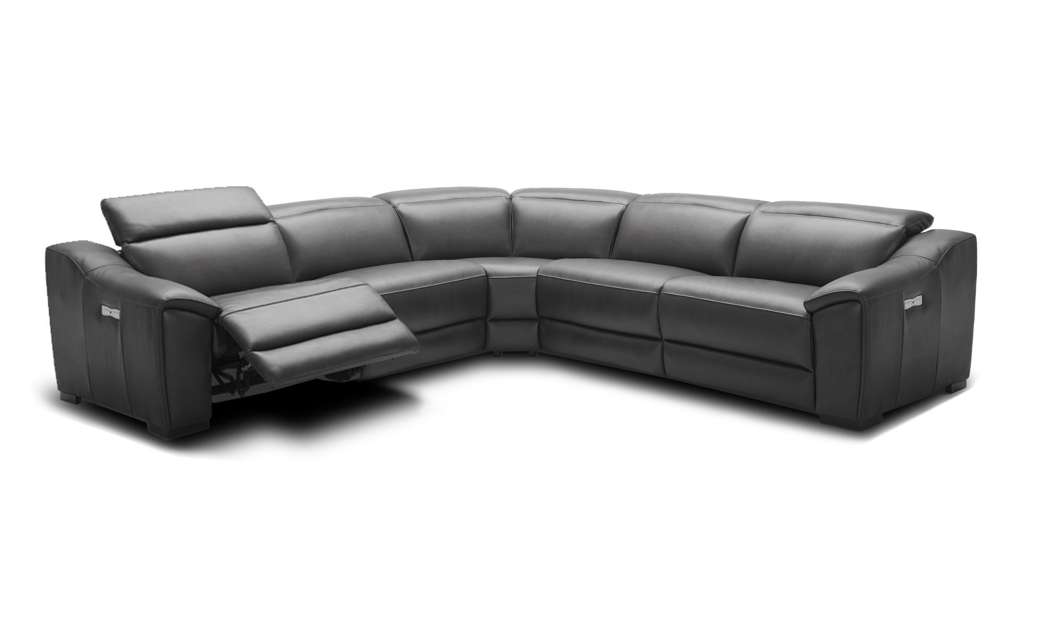 Leather Sectional Sofa Recliner Advanced Adjustable Curved Sectional Sofa In Leather