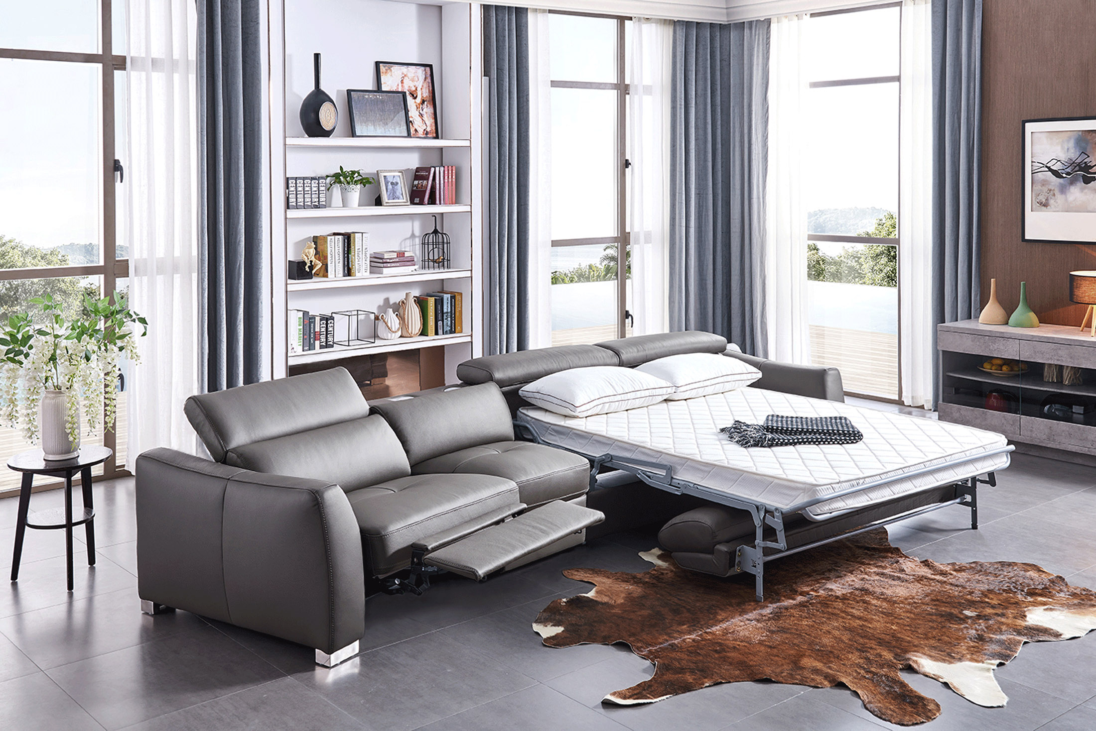 Sofa Sectionals With Bed Leather Sectional With Pull Out Sleeper Bed