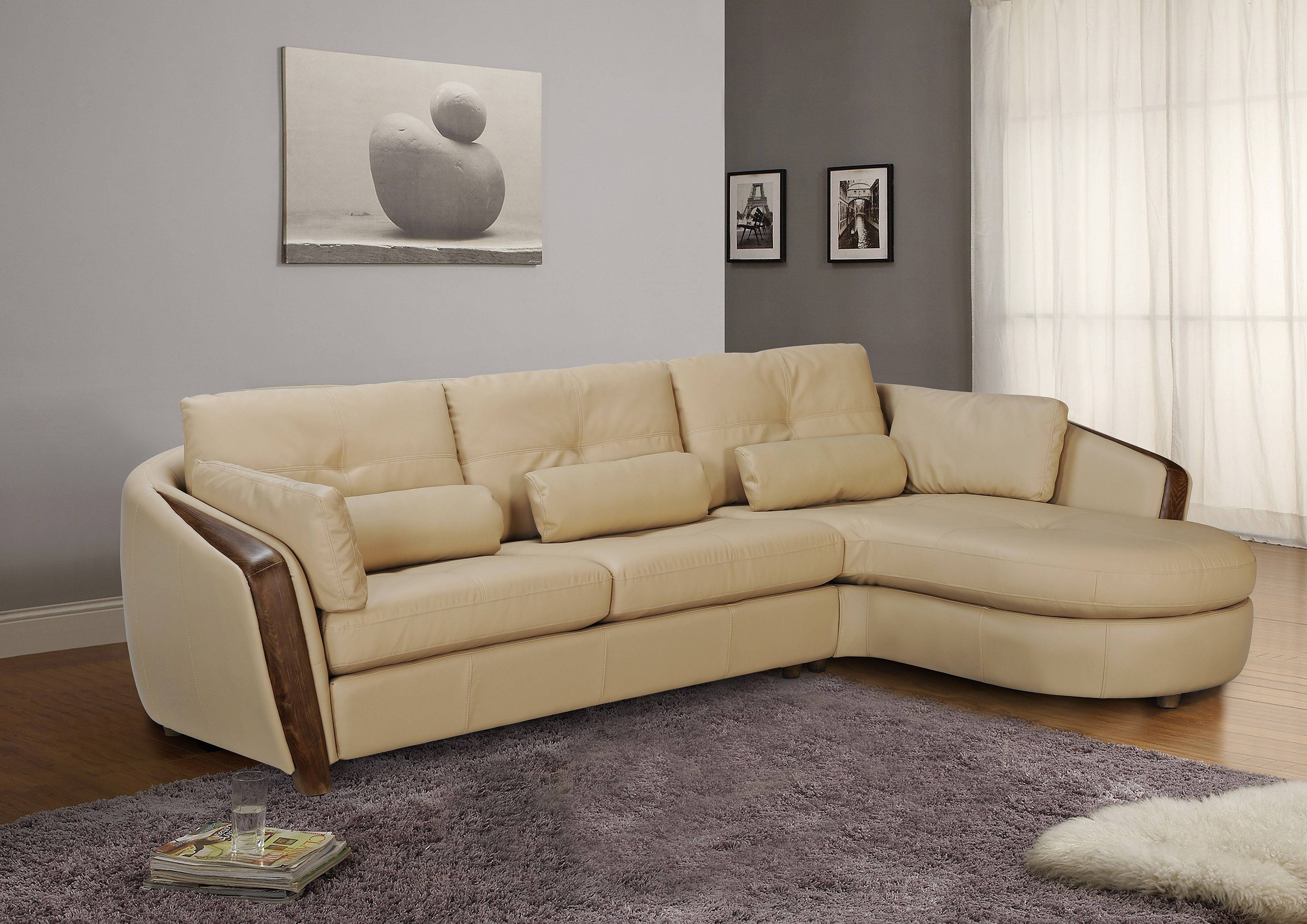 Furniture Manufacturers Ontario Taupe Bonded Leather Sectional Sofa With Ash Wood Accent