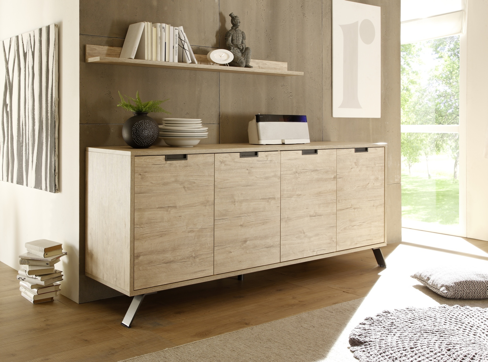 Sideboard Real Contemporary Light Oak 4 Door Dining Buffet With Soft Closing Doors