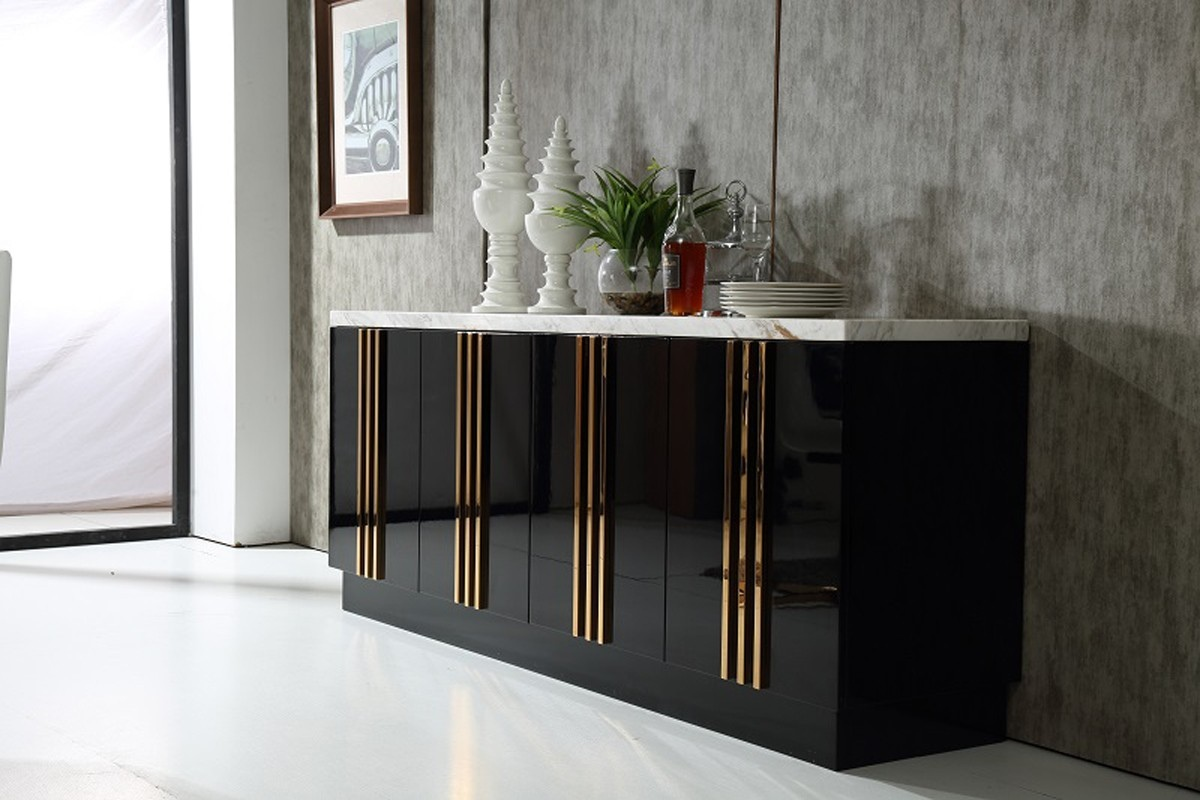 Buffets Modernes Italian Design Black Modern Buffet Cabinet With Marble