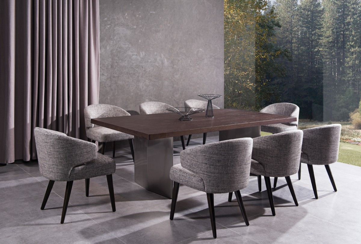 Modern Dining Table Chairs Modern Brown Oak Top And Stainless Steel Base Dining Table