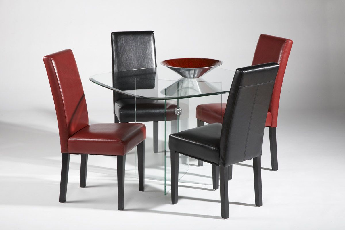 Modern Dining Set High End Rectangular All Clear Glass Top Leather Modern Dining Set