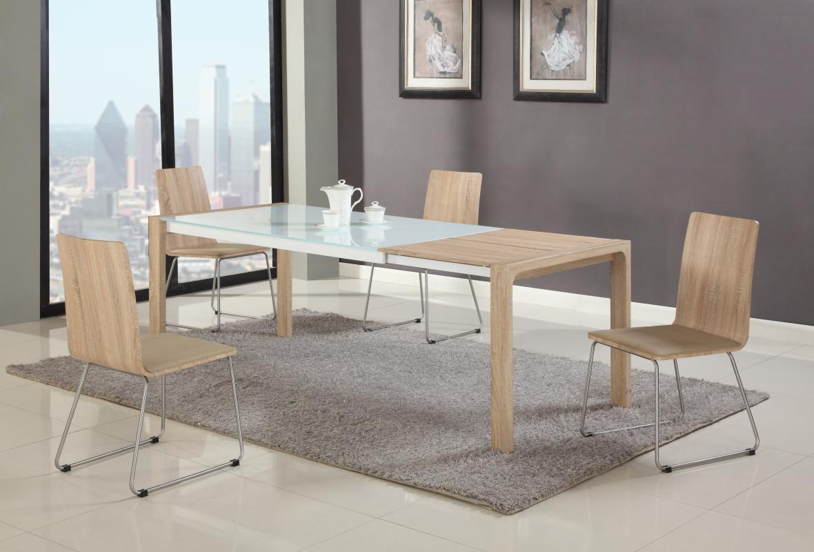 Modern Dining Set Extendable In Wood Glass Top Modern Dining Table Sets
