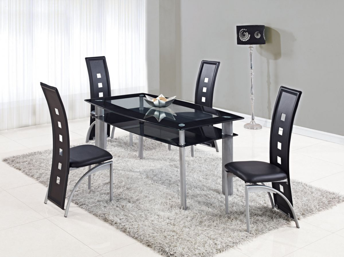 Modern Dining Set Extendable Rectangular Frosted Glass Top Leather Modern Dining Set With Leaf