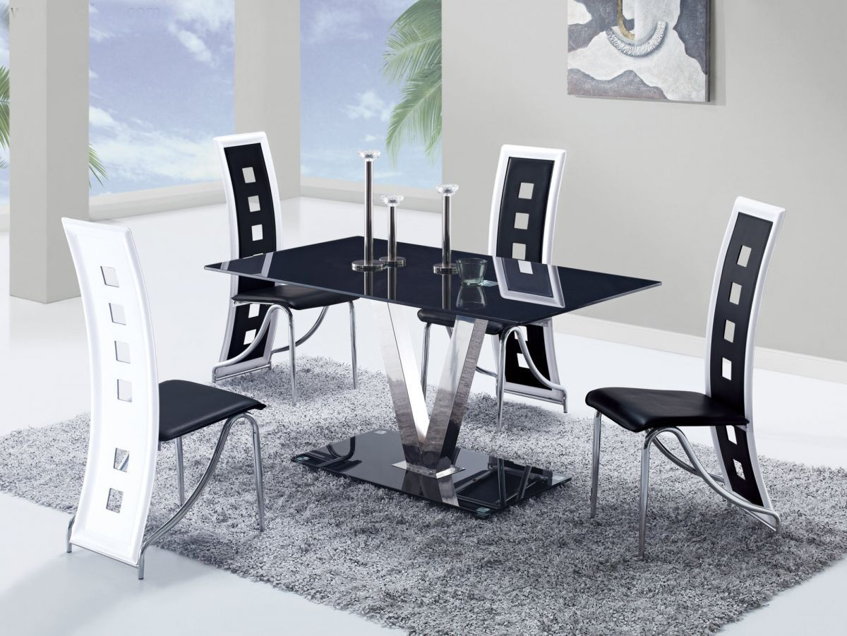 Modern Table And Chairs Fixed Black Glass Top Leather Dinette Tables And Chairs