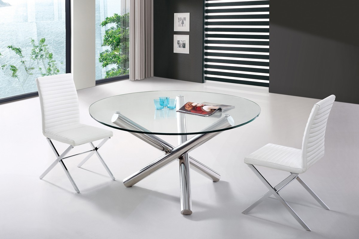 Modern Round Glass Dining Table Modern Glass Round Top Crisscross Chrome Base Dining Set
