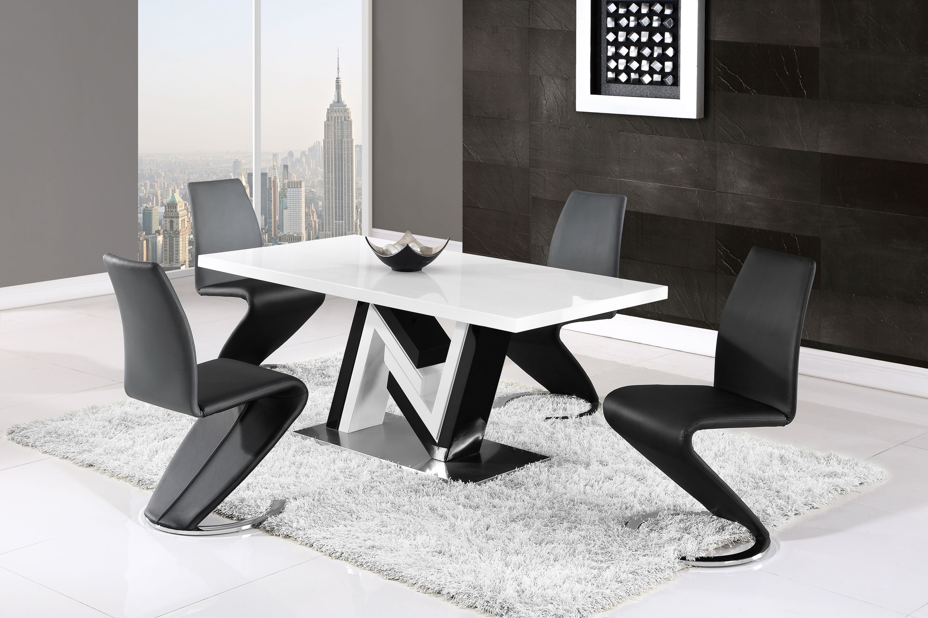 Monochrome Furniture Modern Monochrome Dining Table And Side Leather Chairs