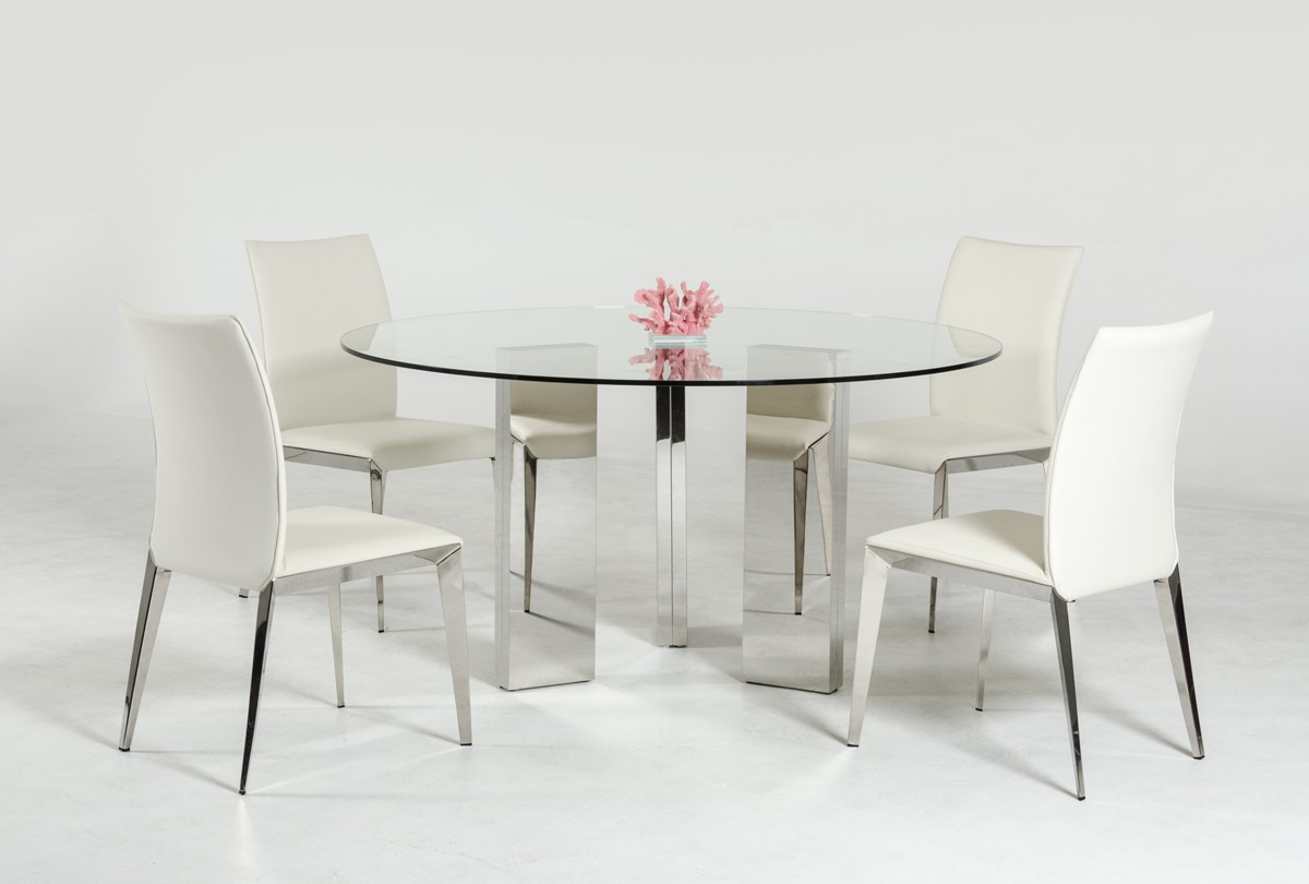 Modern Round Glass Dining Table Modern Round Glass Top Dining Table With Stainless Steel Mirrored Base