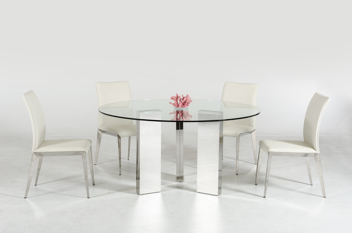 Round Glass Dining Table Modern Round Glass Top Dining Table With Stainless Steel