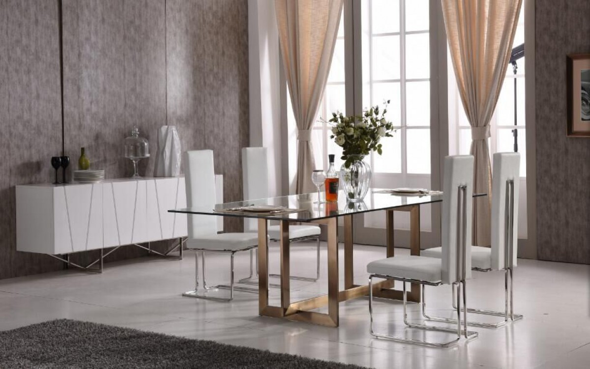 Modern Dining Set Modern Tempered Glass And Brass Dining Set