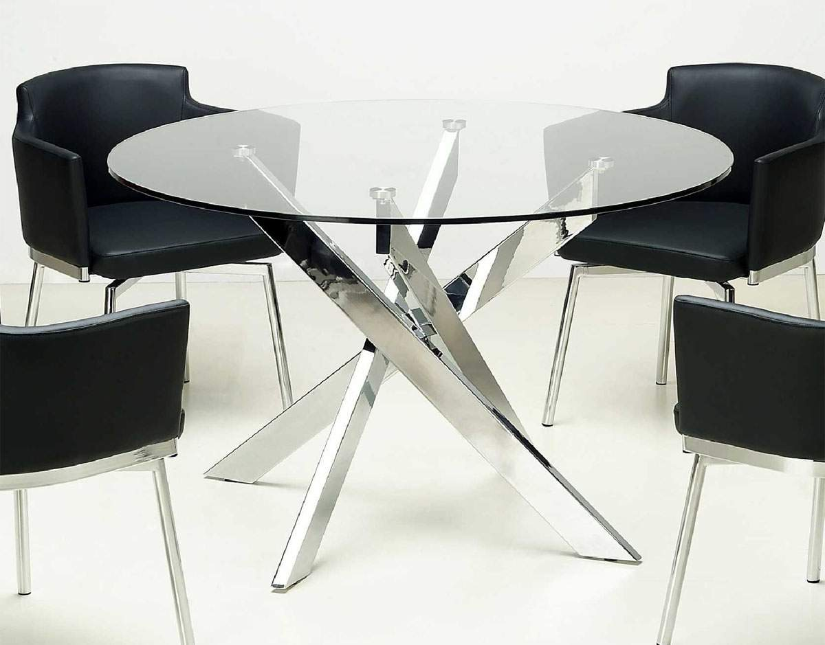Modern Round Glass Dining Table Round Clear Glass Dining Table With Chrome Crossed Legs