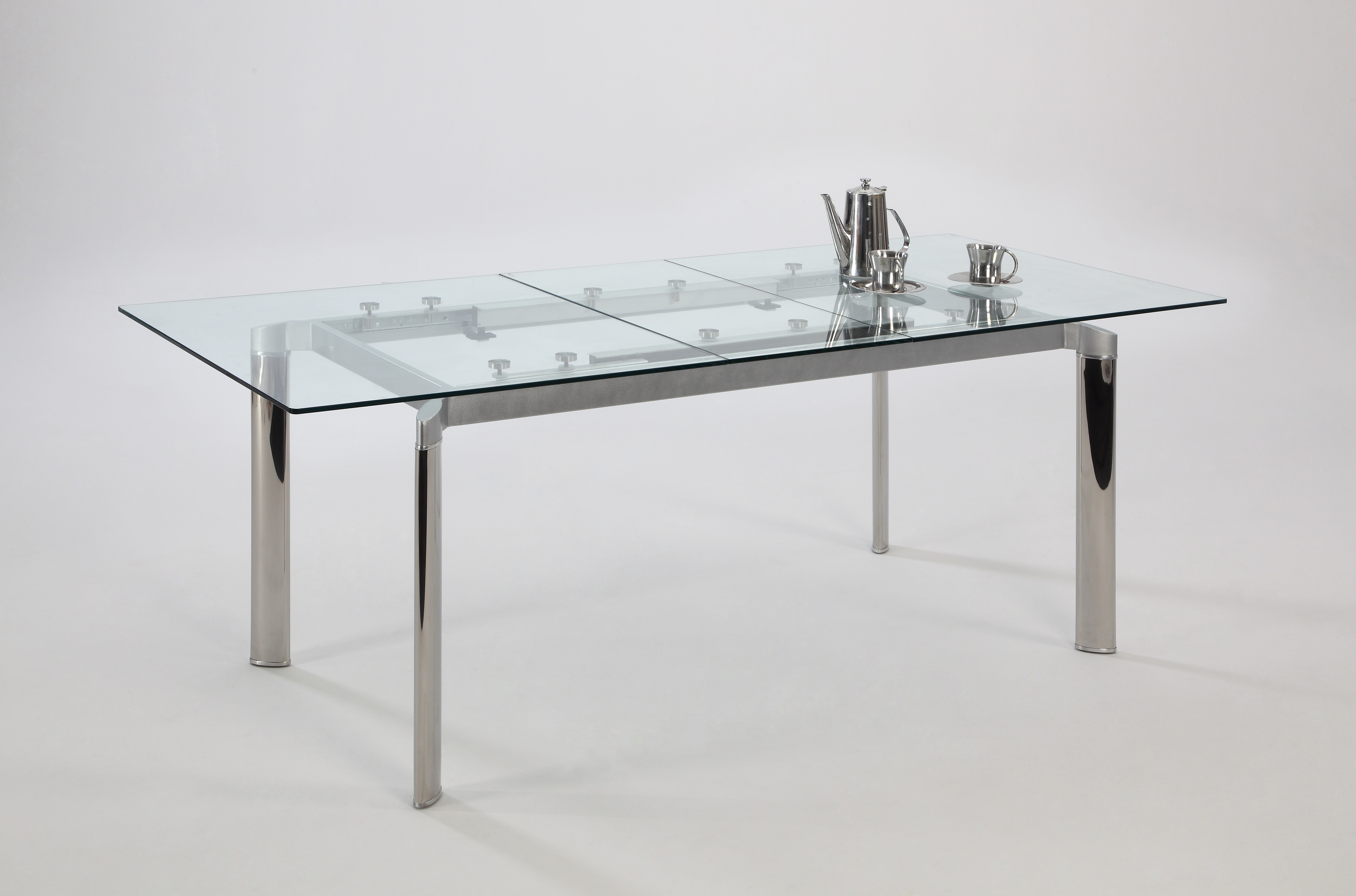 Italian Glass Dining Table Extendable Contemporary Clear Glass And Chrome Extendable Dining