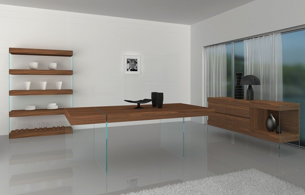 Unique Floating Walnut Dining Table With Transparent Glass