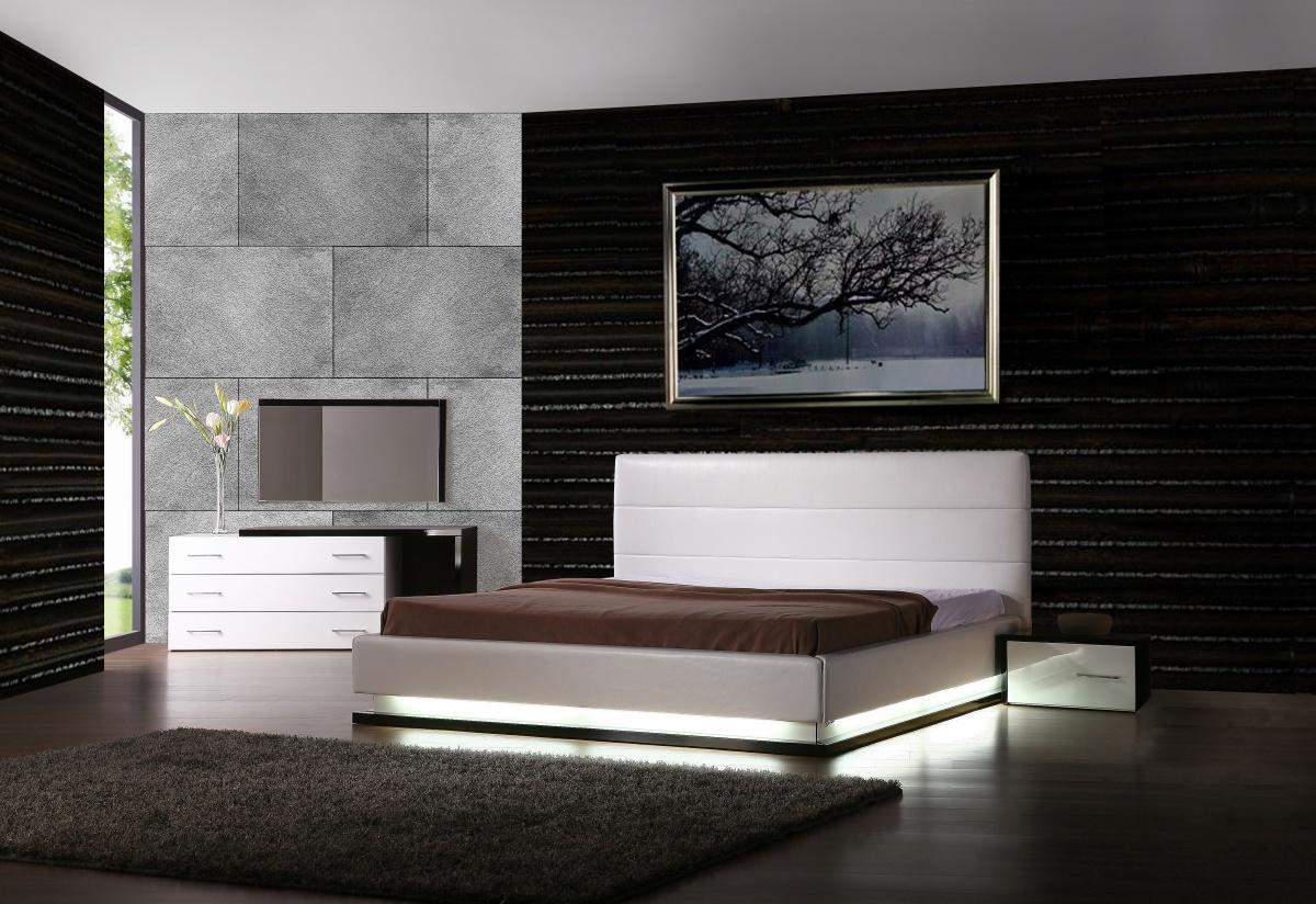 Contemporary Furniture Exotic Leather Modern Contemporary Bedroom Sets Feat Light