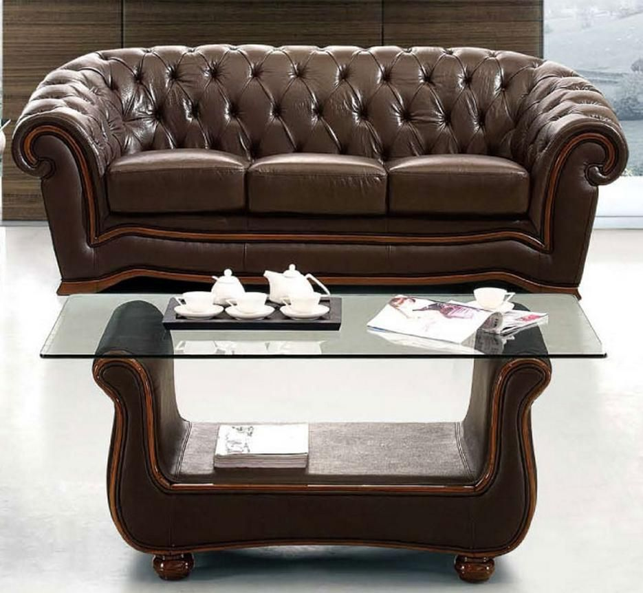 Leather Living Room Furnitures Traditional Brown Italian Leather Sofa