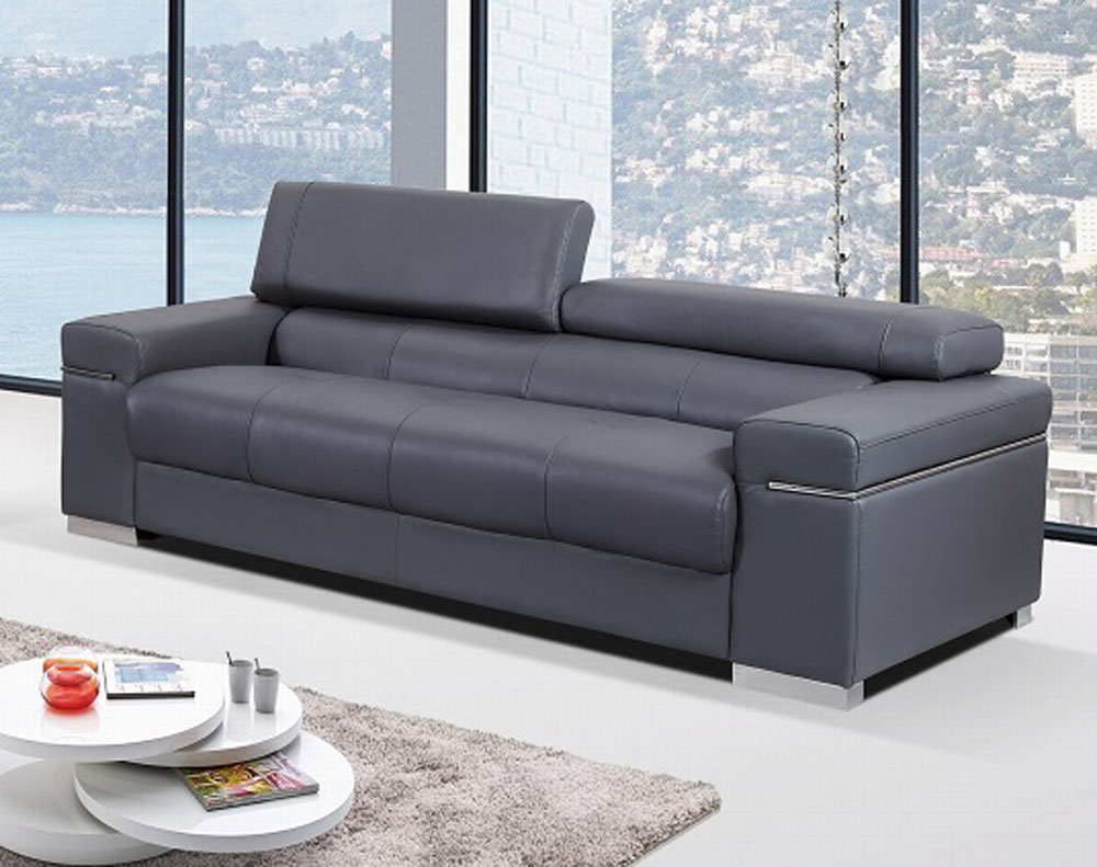 Contemporary Couch Contemporary Sofa Upholstered In Grey Thick Italian Leather