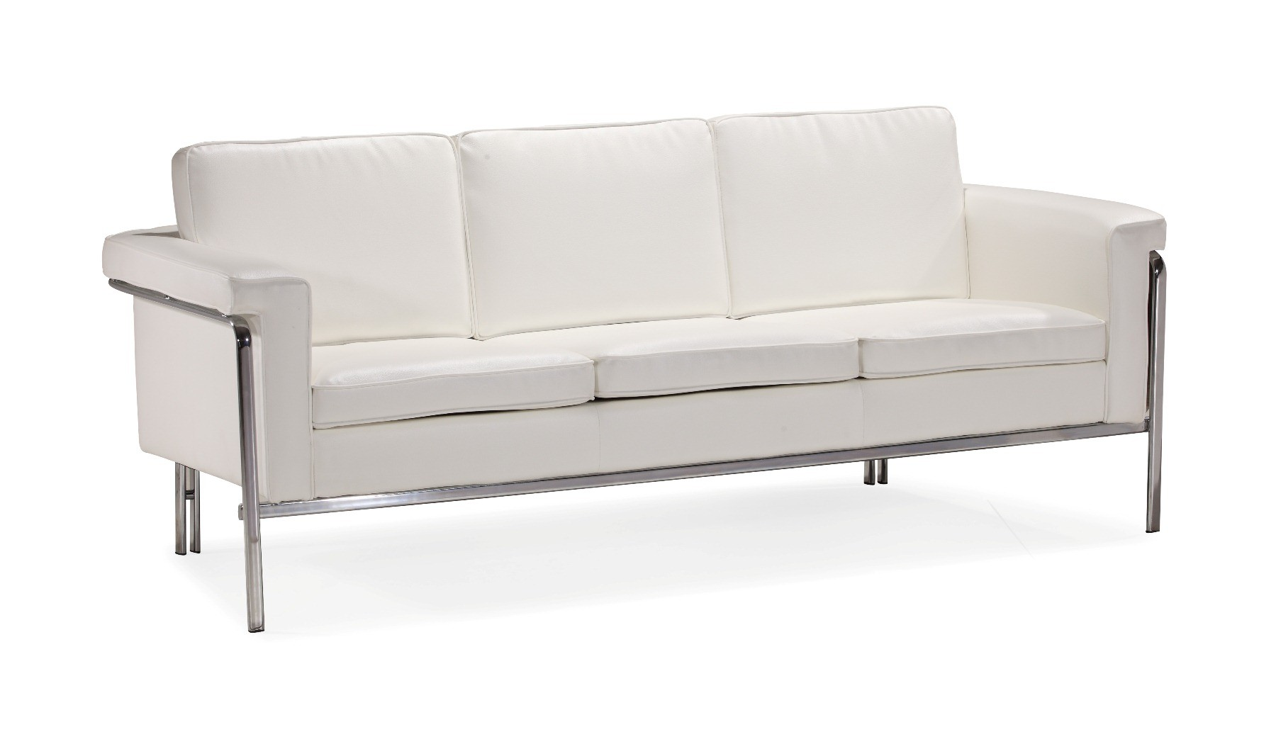 Contemporary Couch White Or Black Leather Contemporary Sofa With Chrome Legs And Frame
