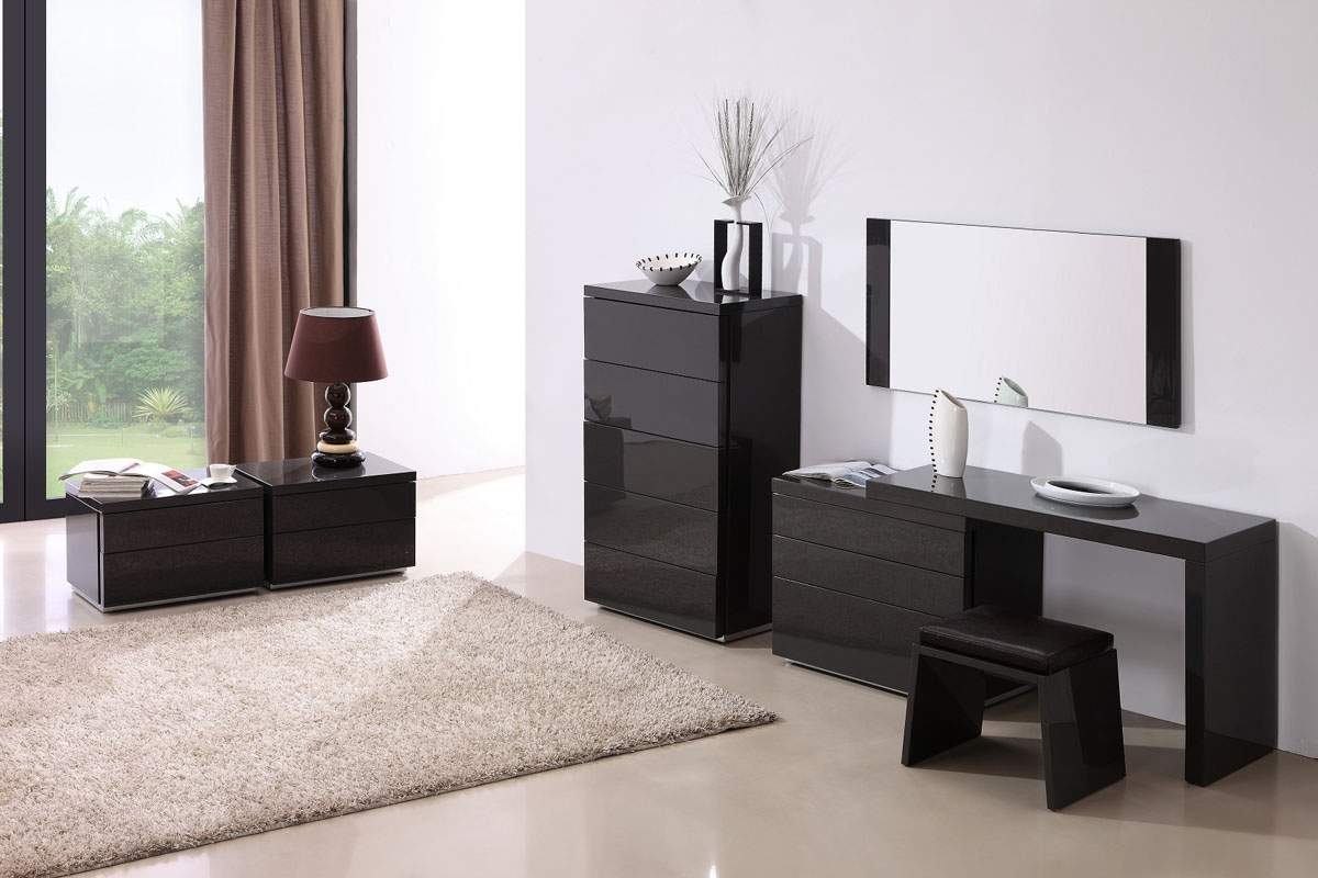 Modern Bed Stand Dark Grey Gloss Functional Night Stand For Contemporary