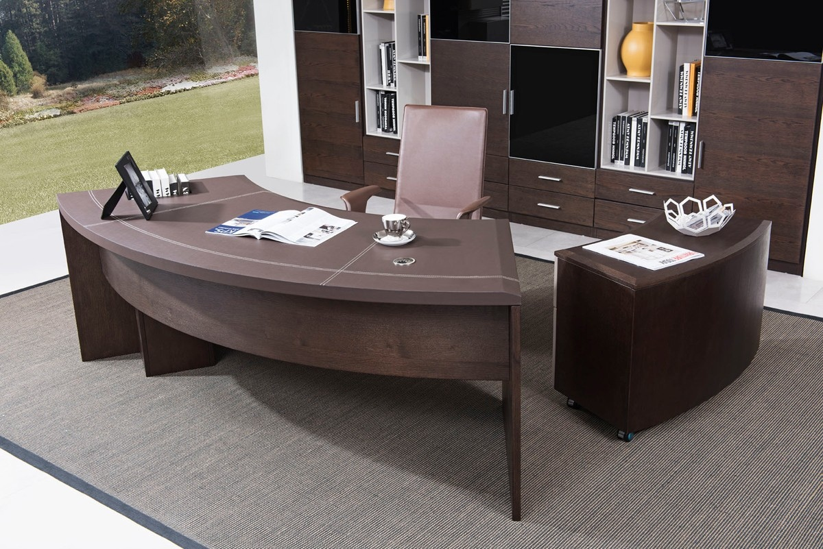 Moderner Schreibtisch Modern Executive Office Desk With Cabinet In Oak Wood