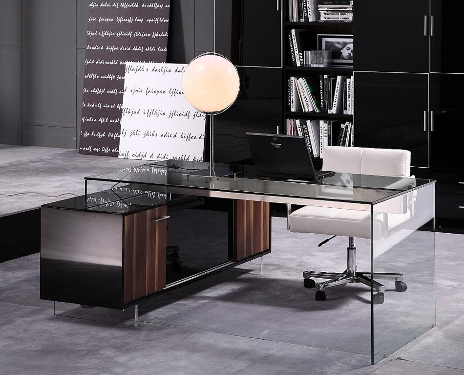 Moderner Schreibtisch Contemporary Office Desk With Thick Acrylic Cabinet