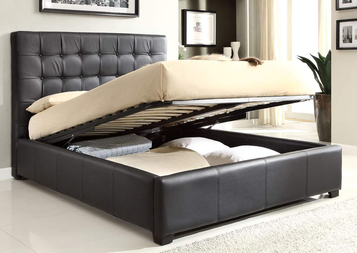 Elevated Beds With Storage Stylish Leather High End Platform Bed With Extra Storage