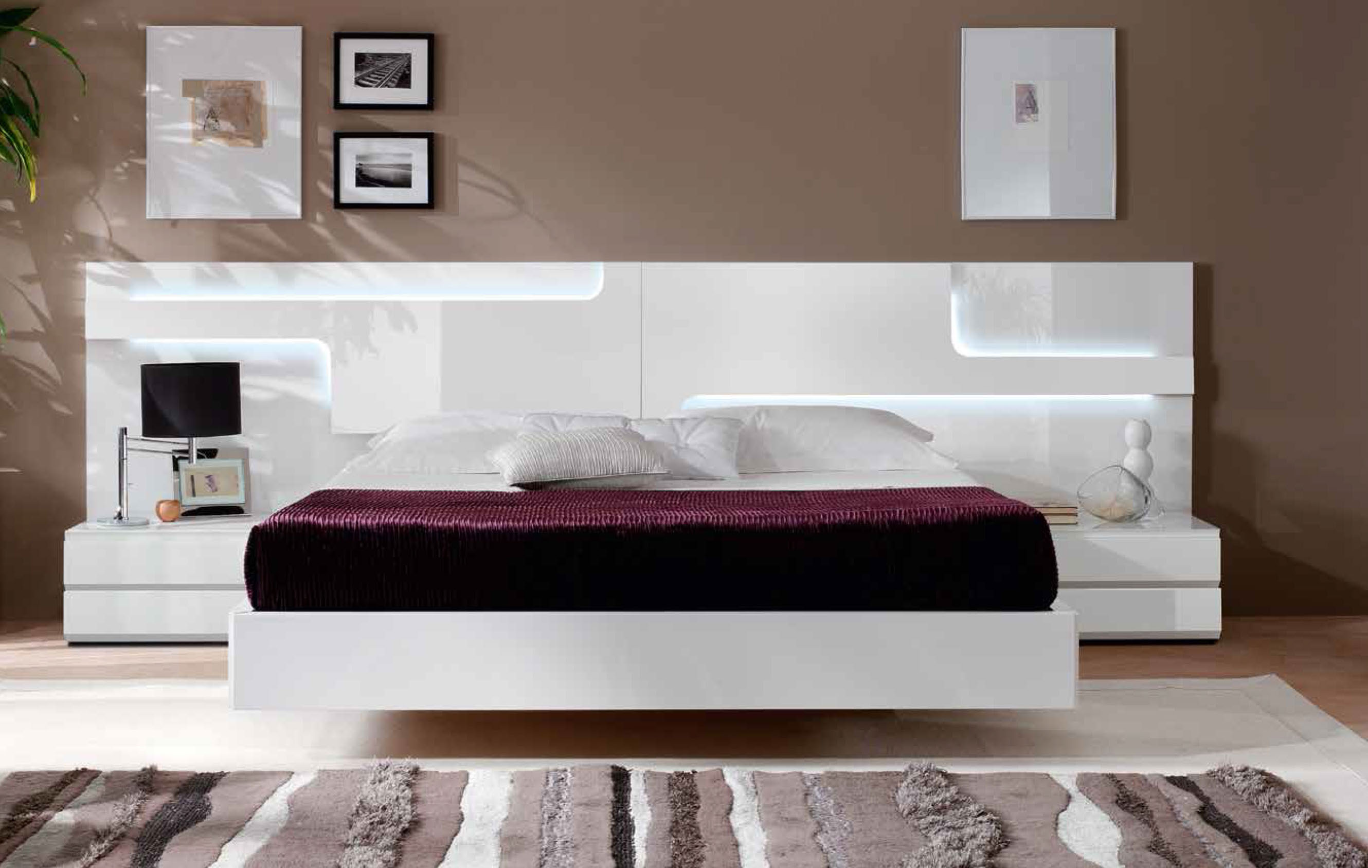 Modern Bedroom Headboard Designs Lacquered Made In Spain Wood Platform And Headboard Bed With Extra Storage
