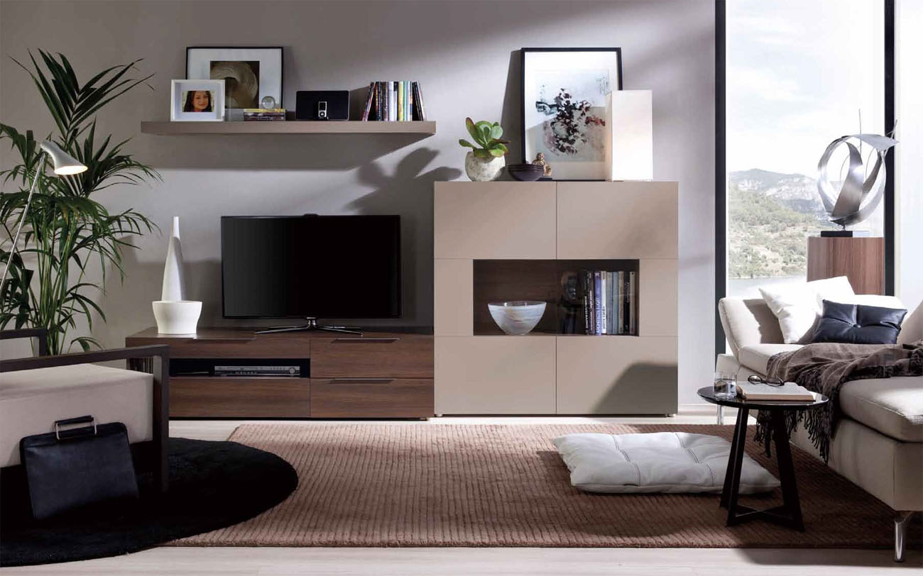 Modern Wall Units Grand Contemporary Wall Unit With Glass Doors And A Shelf