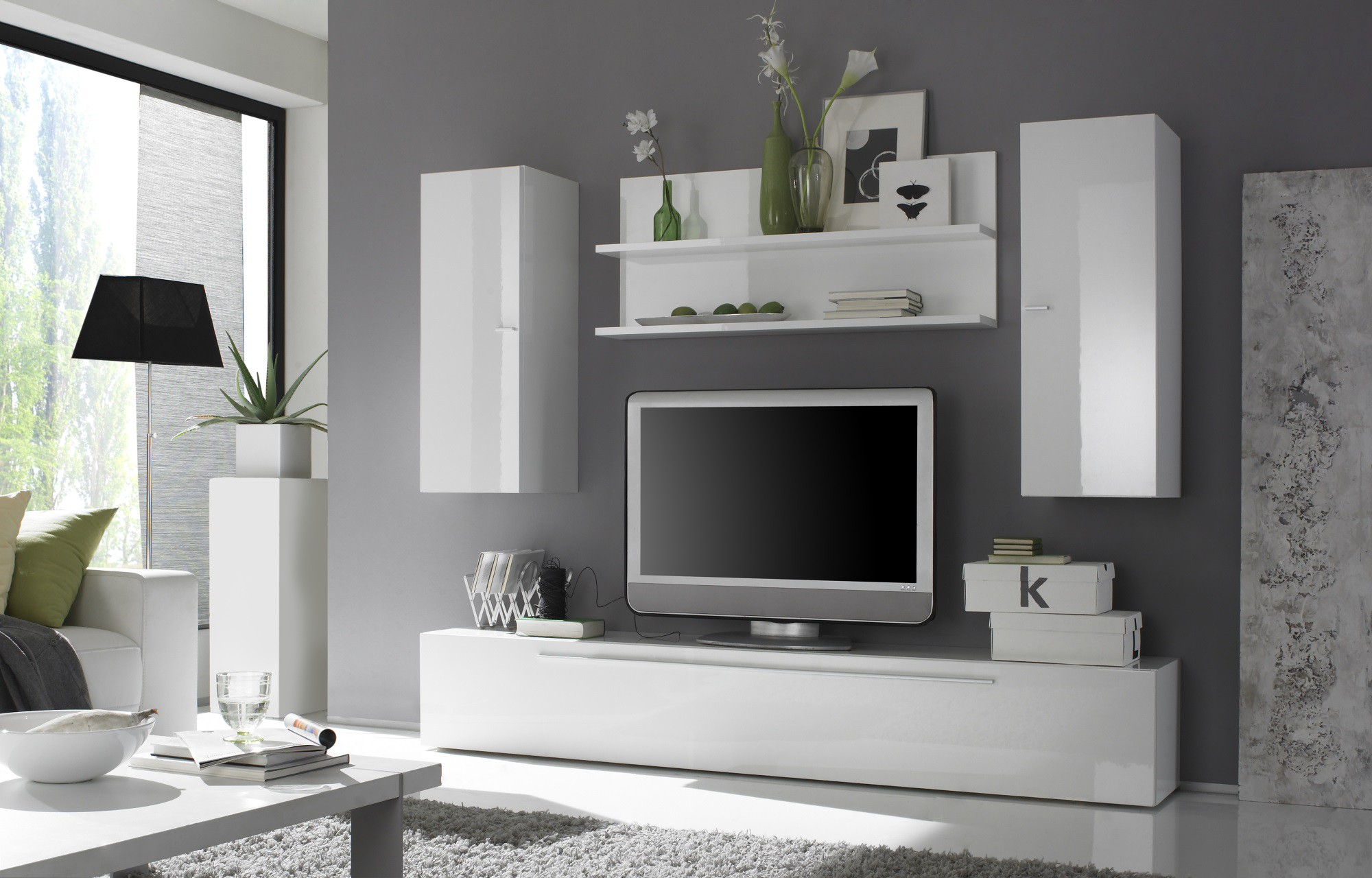 Deco Salon Sol Gris Contemporary Entertainment Center With Hanging Units