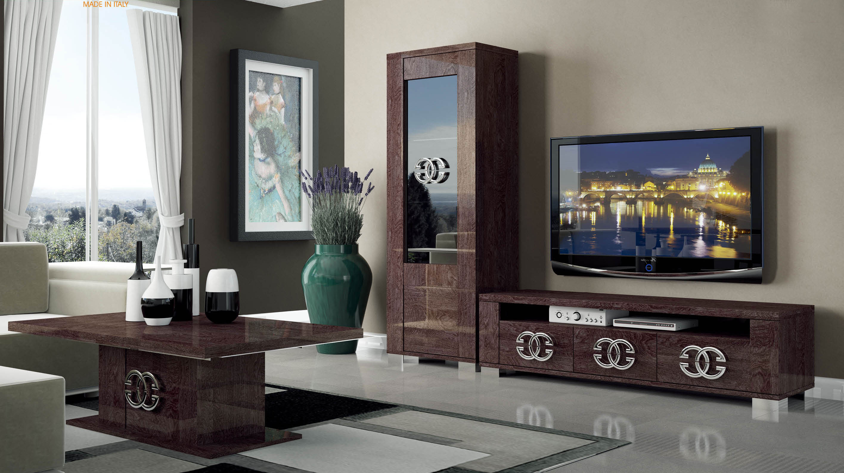 Standvitrinen Amazon Walnut Brown Tv Stand With Side Vitrine Shelves