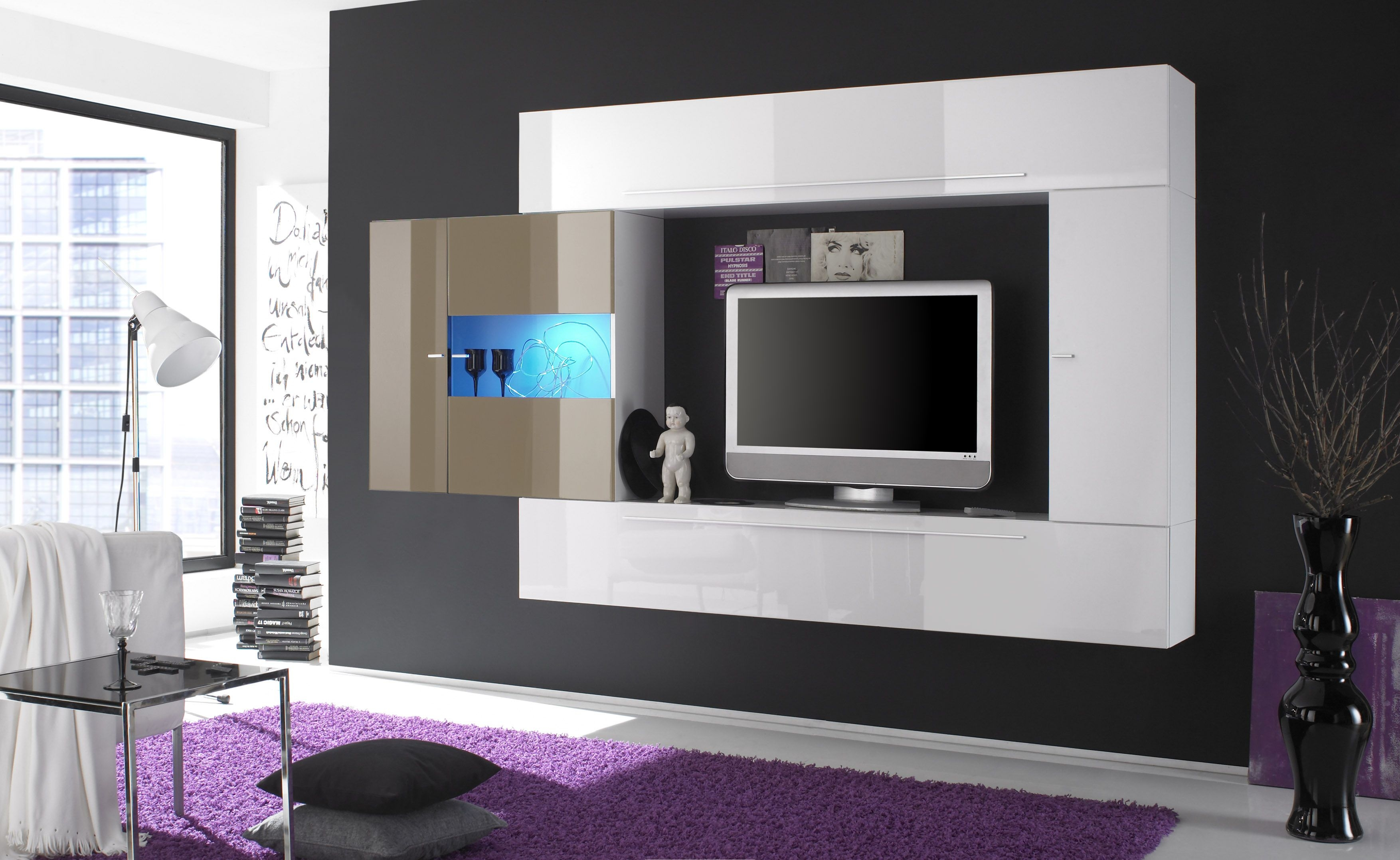 Meuble Tv Interio White Lacquered Contemporary Wall Unit With Dark Outer